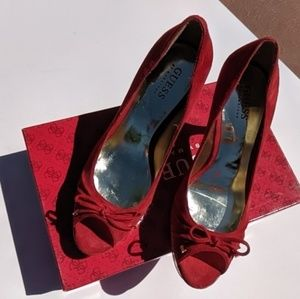 Beautiful red suede and cork Guess heels size 7.5